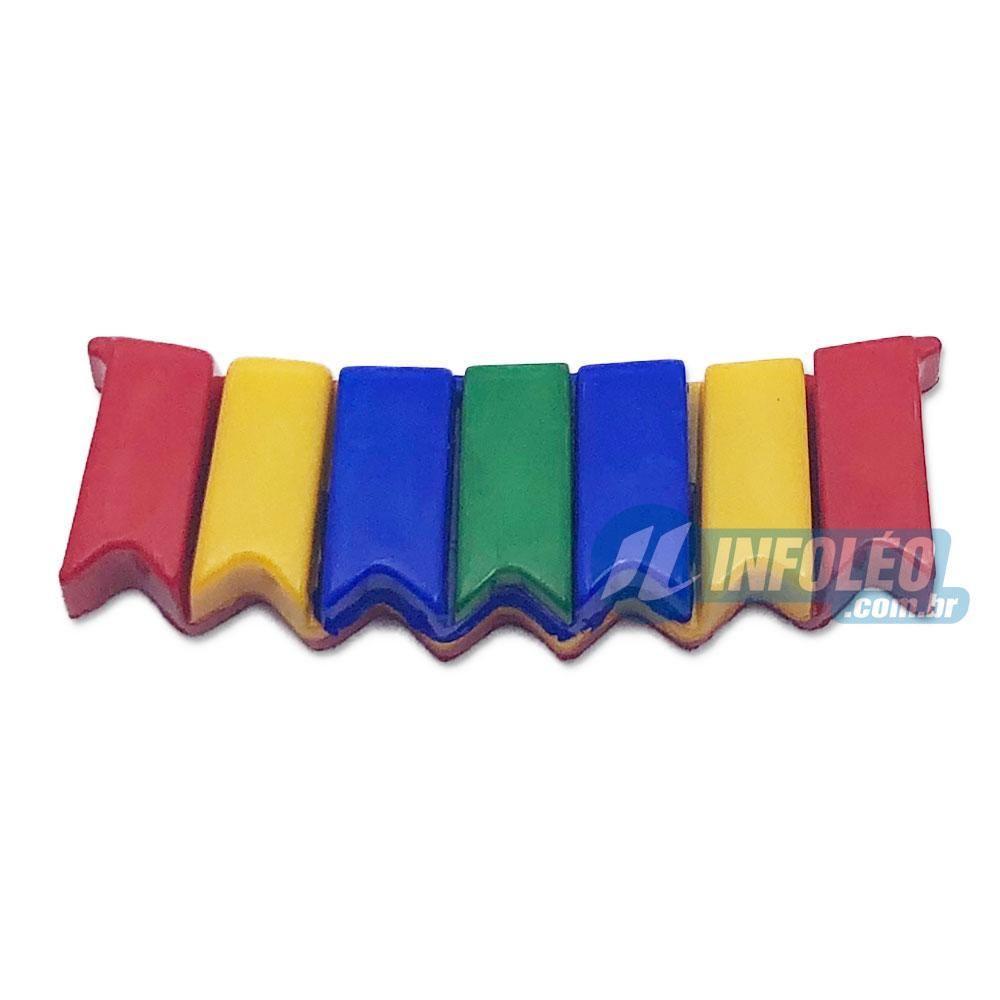 Aplique Botão Bandeiras Festa Junina Vermelho / Amarelo / Azul 3x1cm - 5 unidades