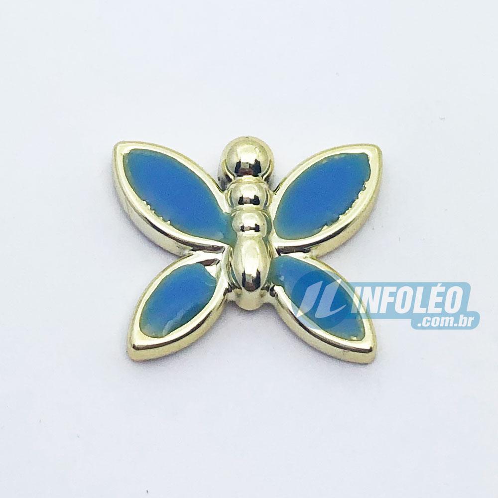 Aplique Botão Borboleta Dourada C/ Azul 2x1,5cm - 5 unidades
