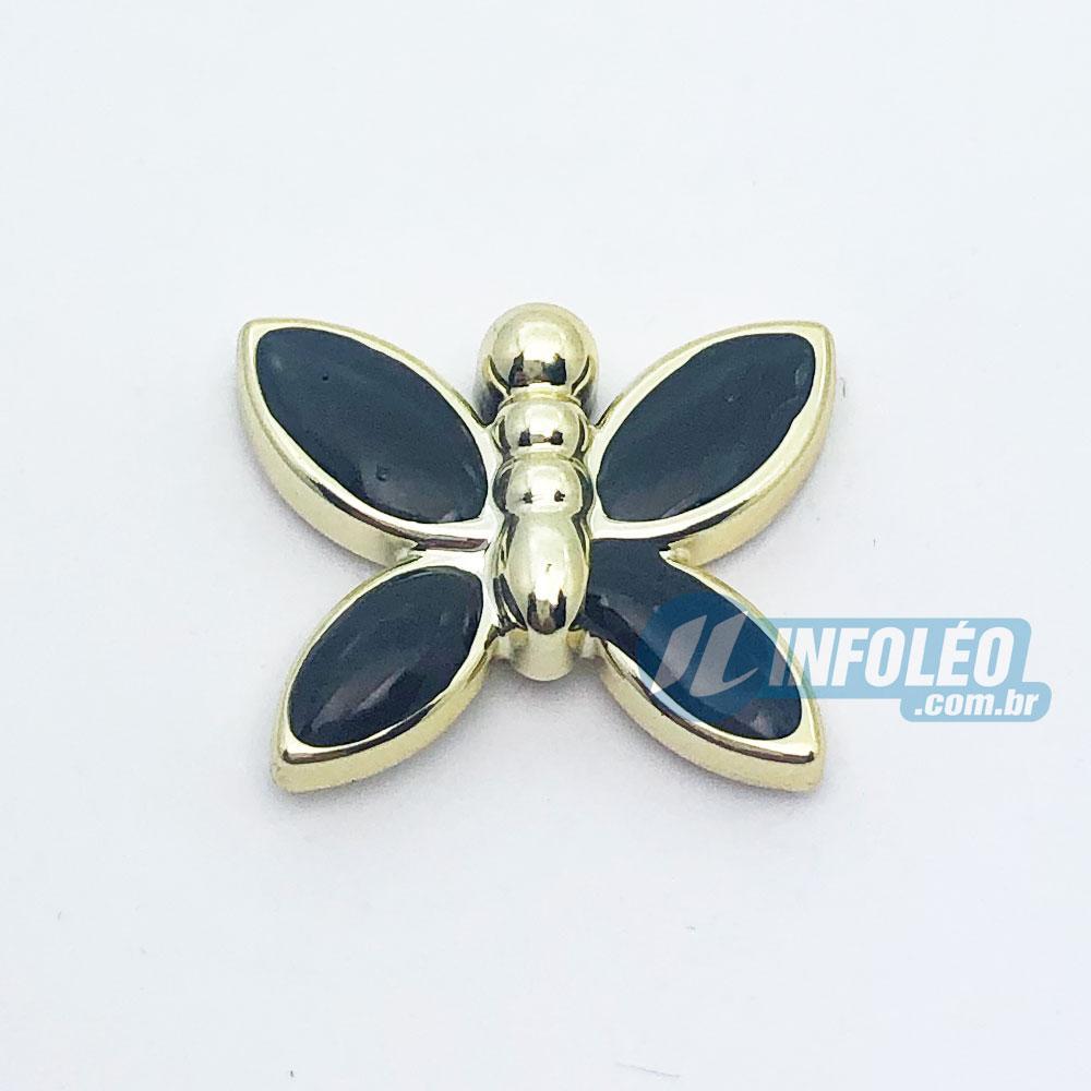 Aplique Botão Borboleta Dourada C/ Preto 2x1,5cm - 5 unidades