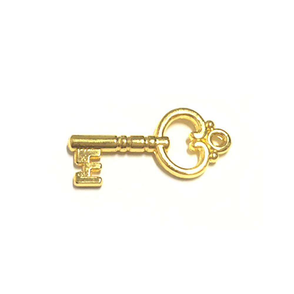 Aplique Botão Chave Dourada 2,7x1,3cm C/ 10 unidades - MC0014