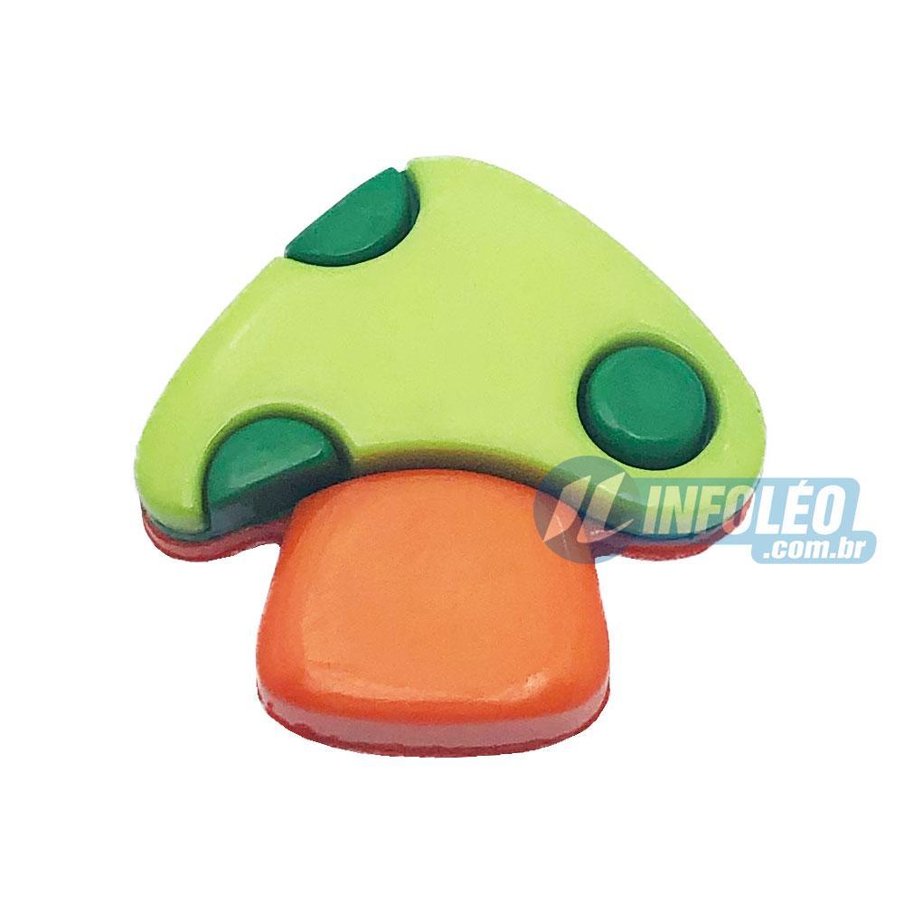 Aplique Botão Cogumelo Verde e Laranja 2x2cm - 5 unidades