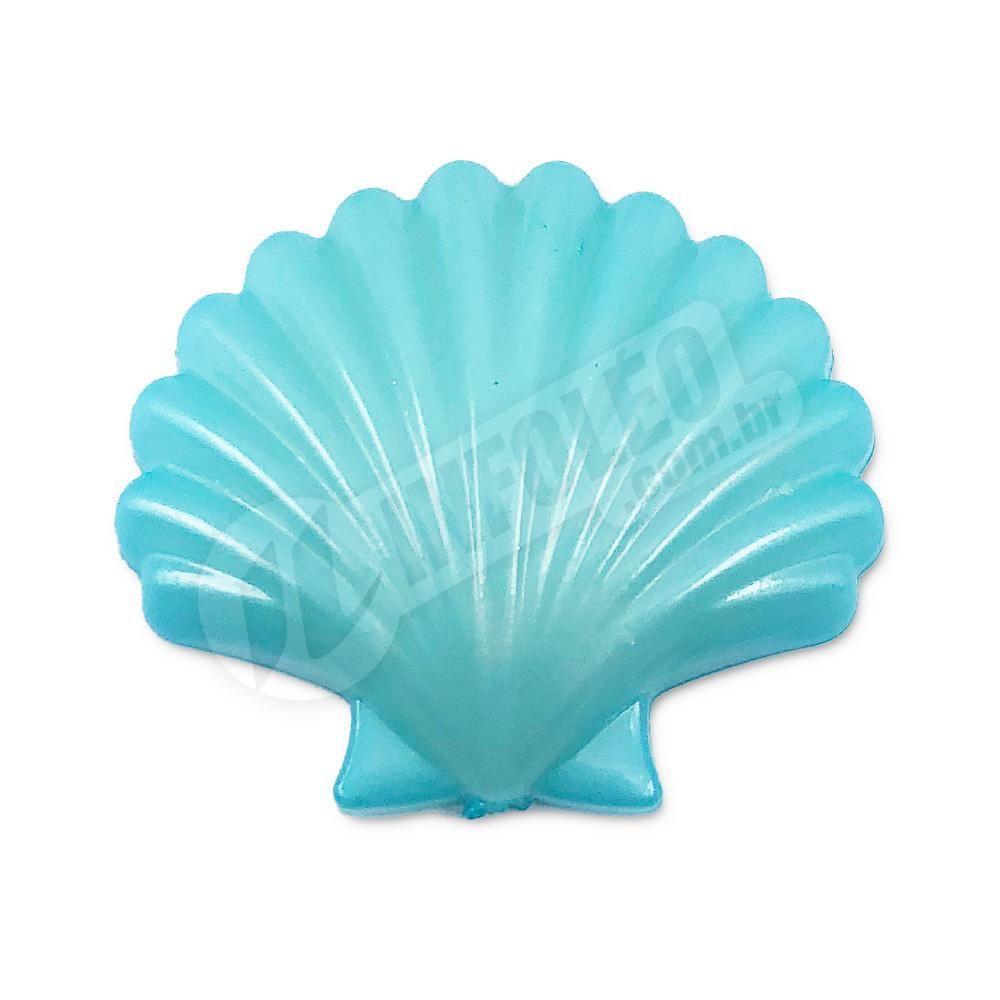 Aplique Botão Concha Azul Tiffany 2,5x2,5cm - 5 unidades