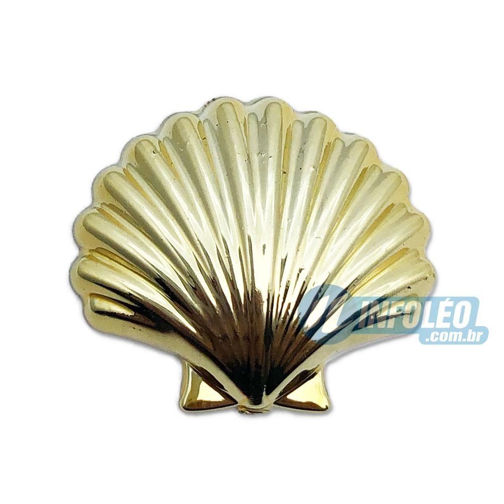 Aplique Botão Concha Dourado 2,5x2,5cm - 5 unidades