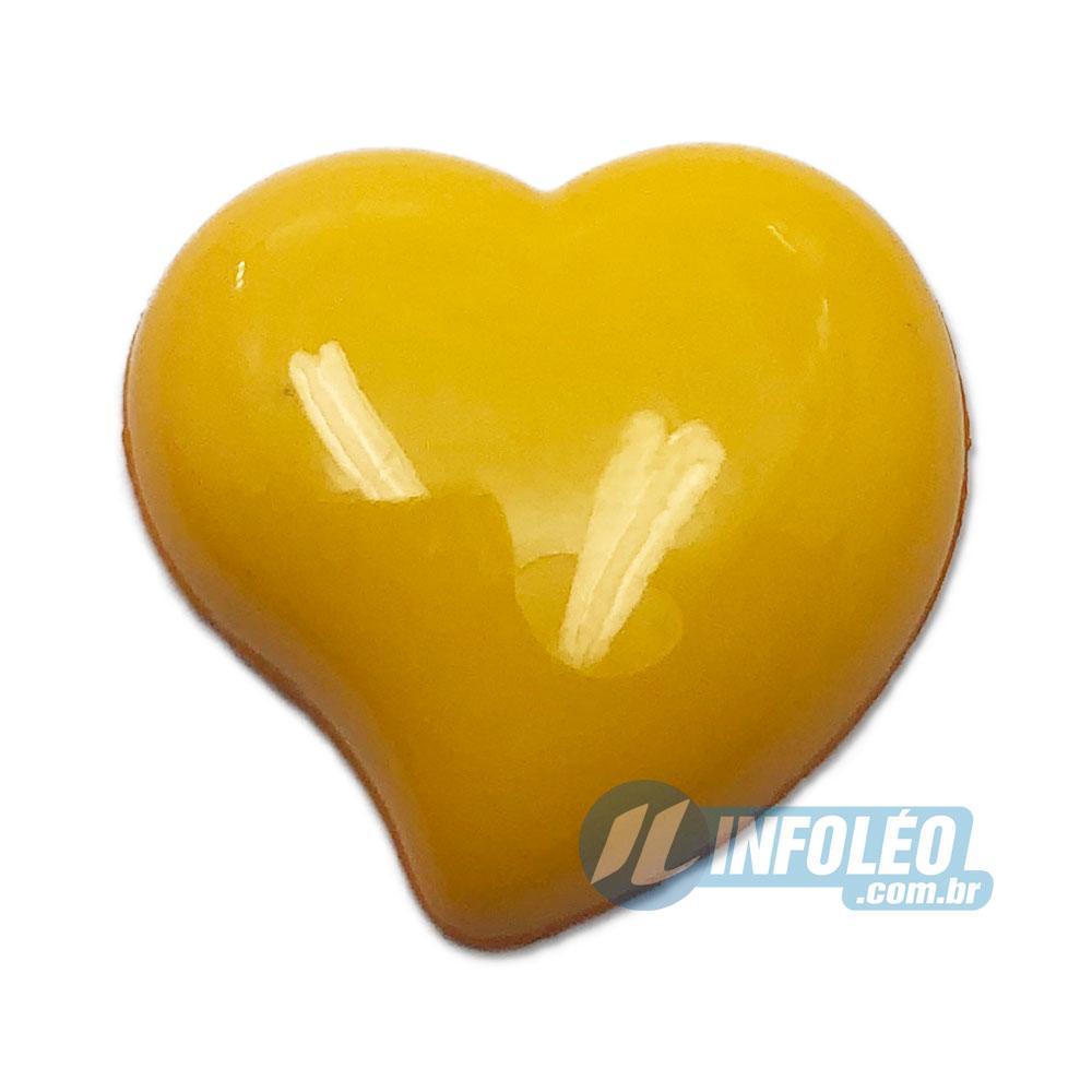 Aplique Botão Coração Amarelo 2,2x2,5cm - 5 unidades