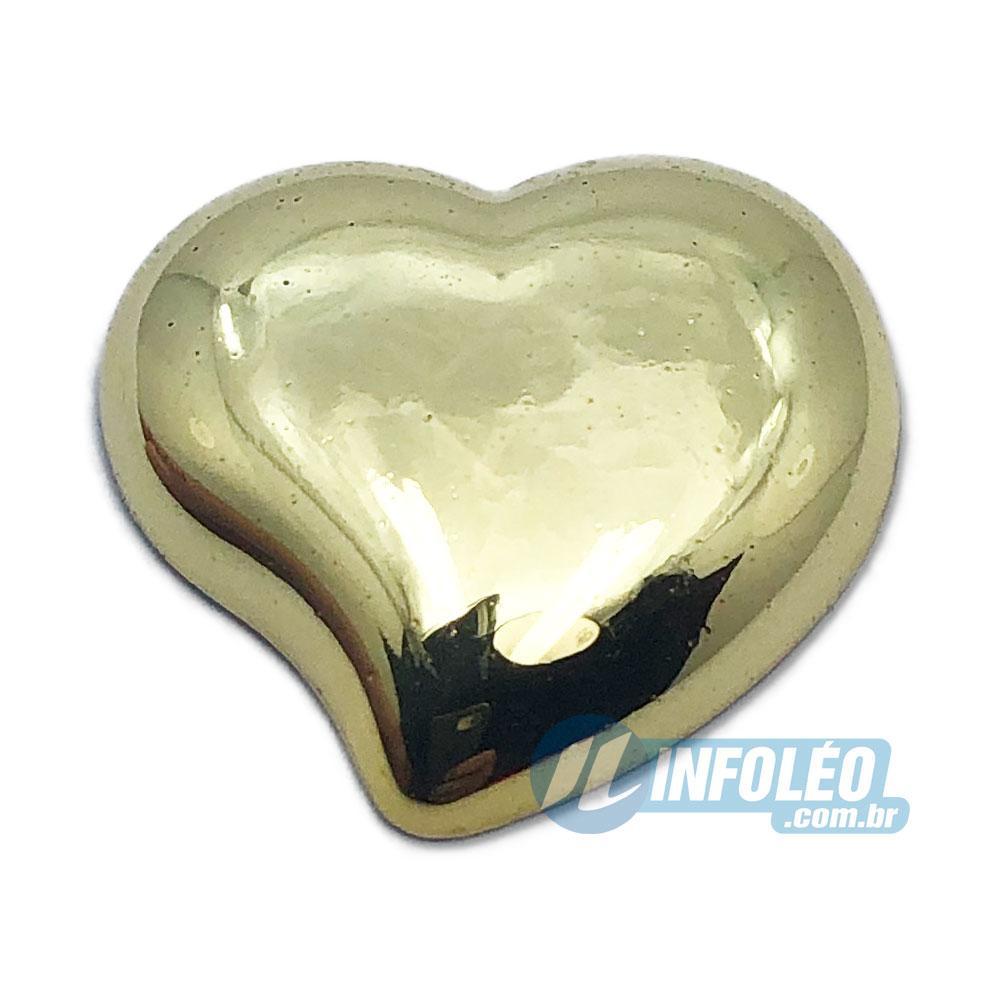 Aplique Botão Coração Dourado Plástico 2,2x2,5cm - 5 unidades