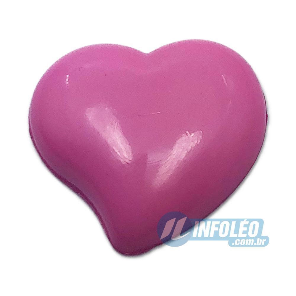 Aplique Botão Coração Rosa 2,2x2,5cm - 5 unidades
