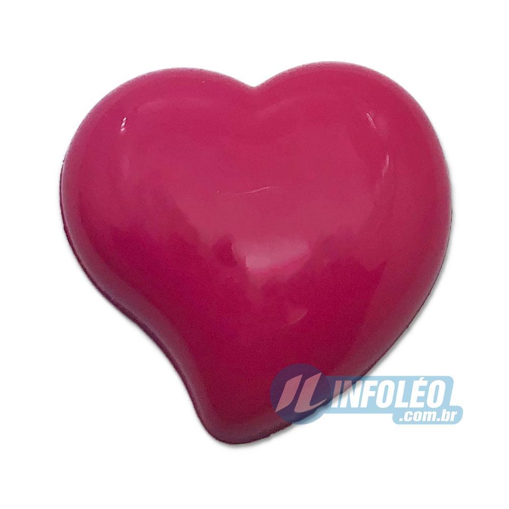 Aplique Botão Coração Rosa Pink 2,2x2,5cm - 5 unidades