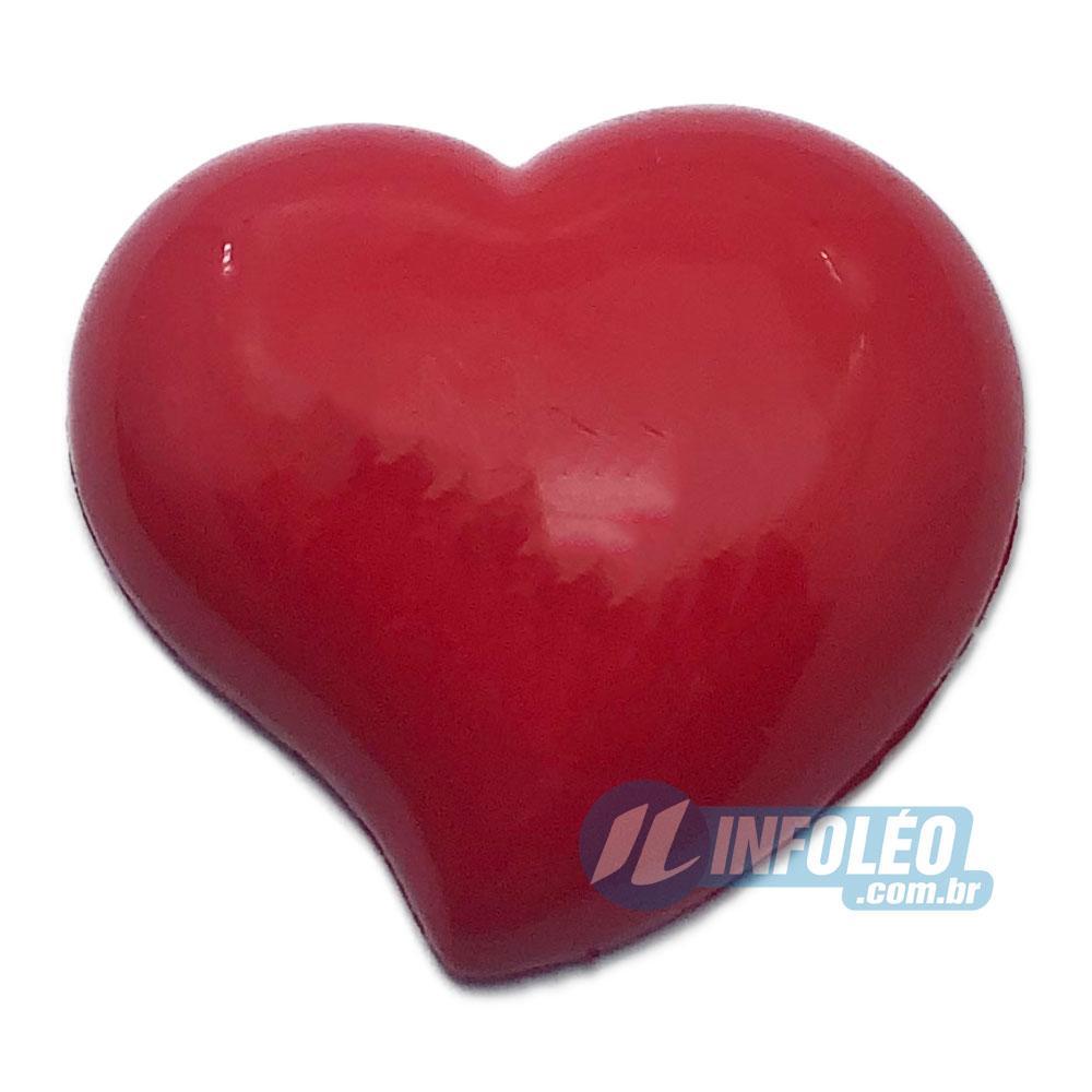 Aplique Botão Coração Vermelho 3x3cm - 5 unidades
