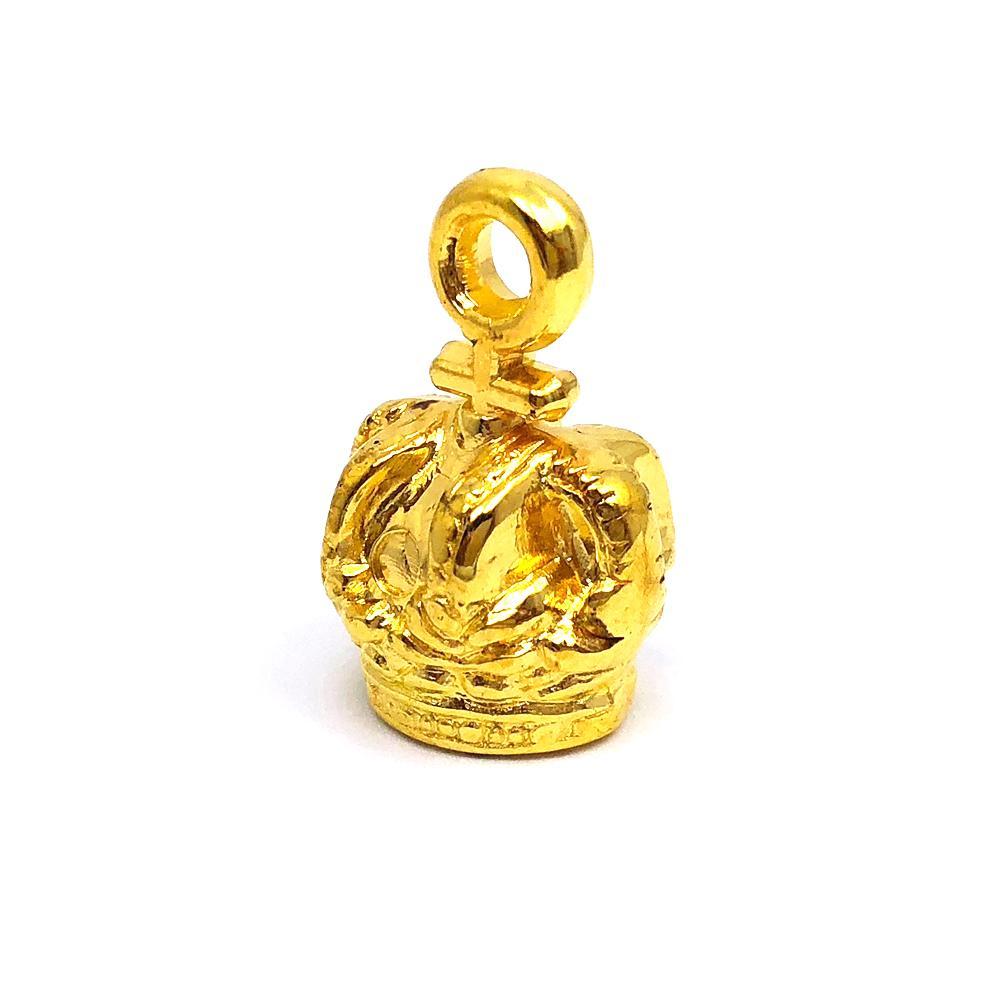 Aplique Botão Coroa 3D Dourada 1x2cm C/ 10 unidades