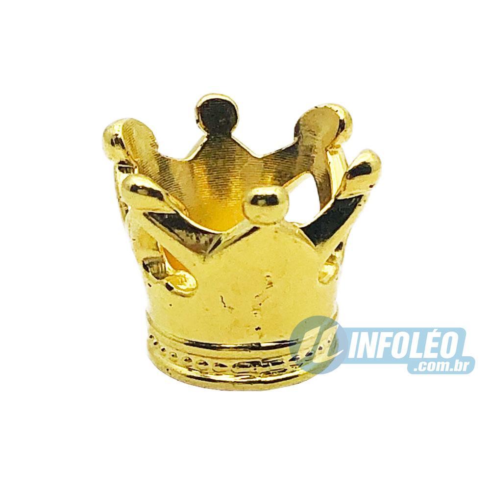 Aplique Botão Coroa 3D Dourada Plástico 1,5x1cm - 10 unidades