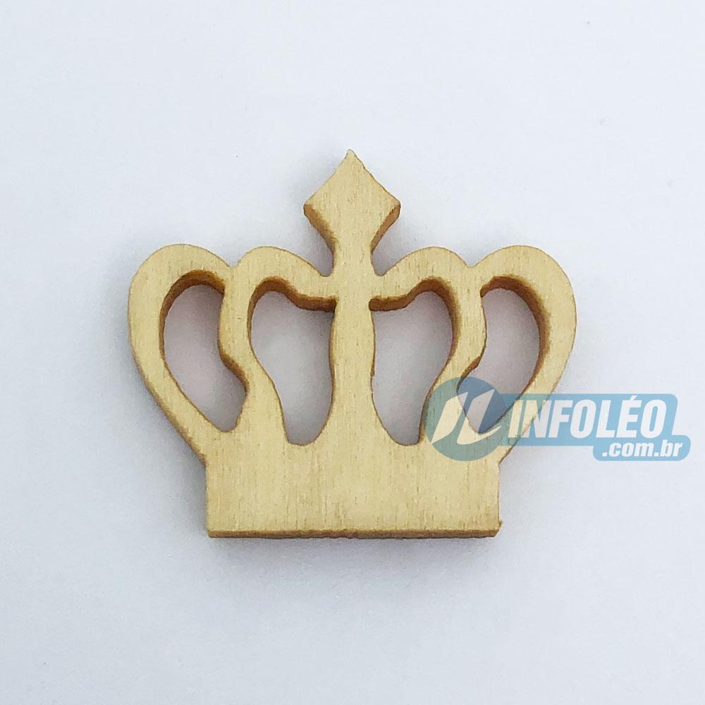 Aplique Botão Coroa em Madeira 2x1,5cm - 10 unidades