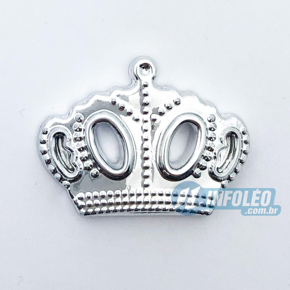 Aplique Botão Coroa Princesa Prata Plástico 2,5x2cm - 10 unidades