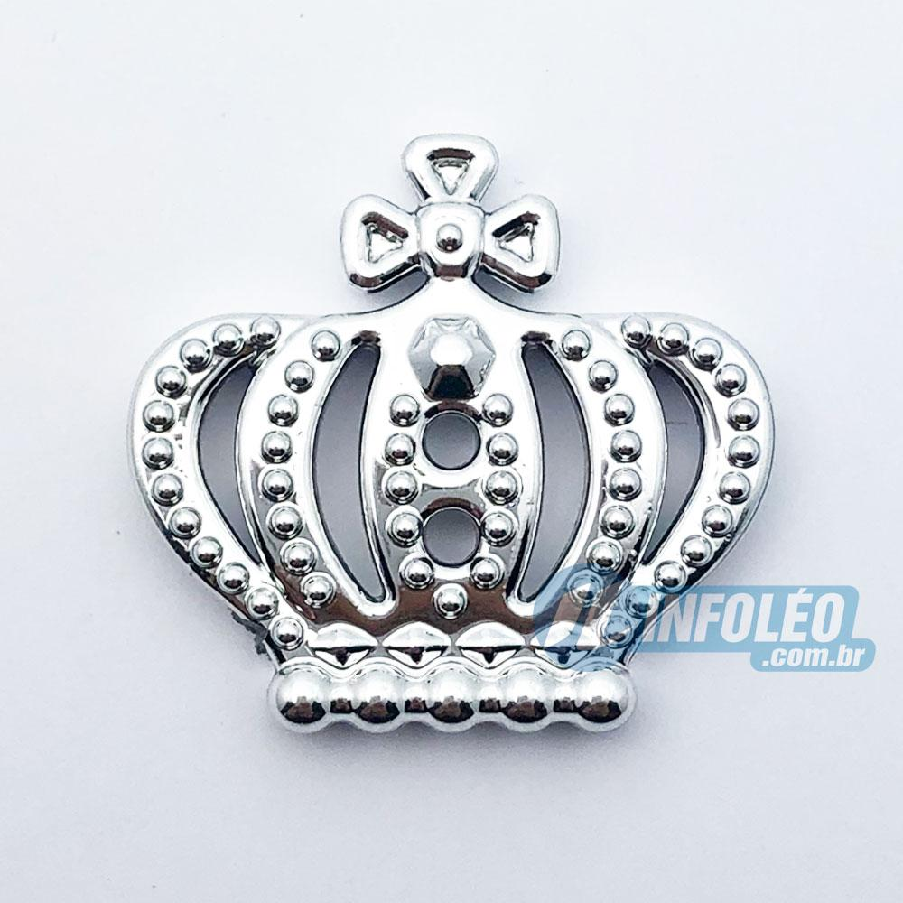 Aplique Botão Coroa Rei Prata Plástico 2,5x2,5cm - 10 unidades