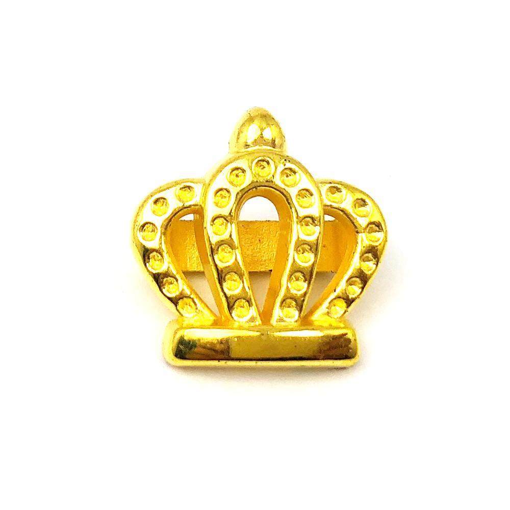 Aplique Botão Coroa Vazada Dourada 2x2cm C/ 10 unidades
