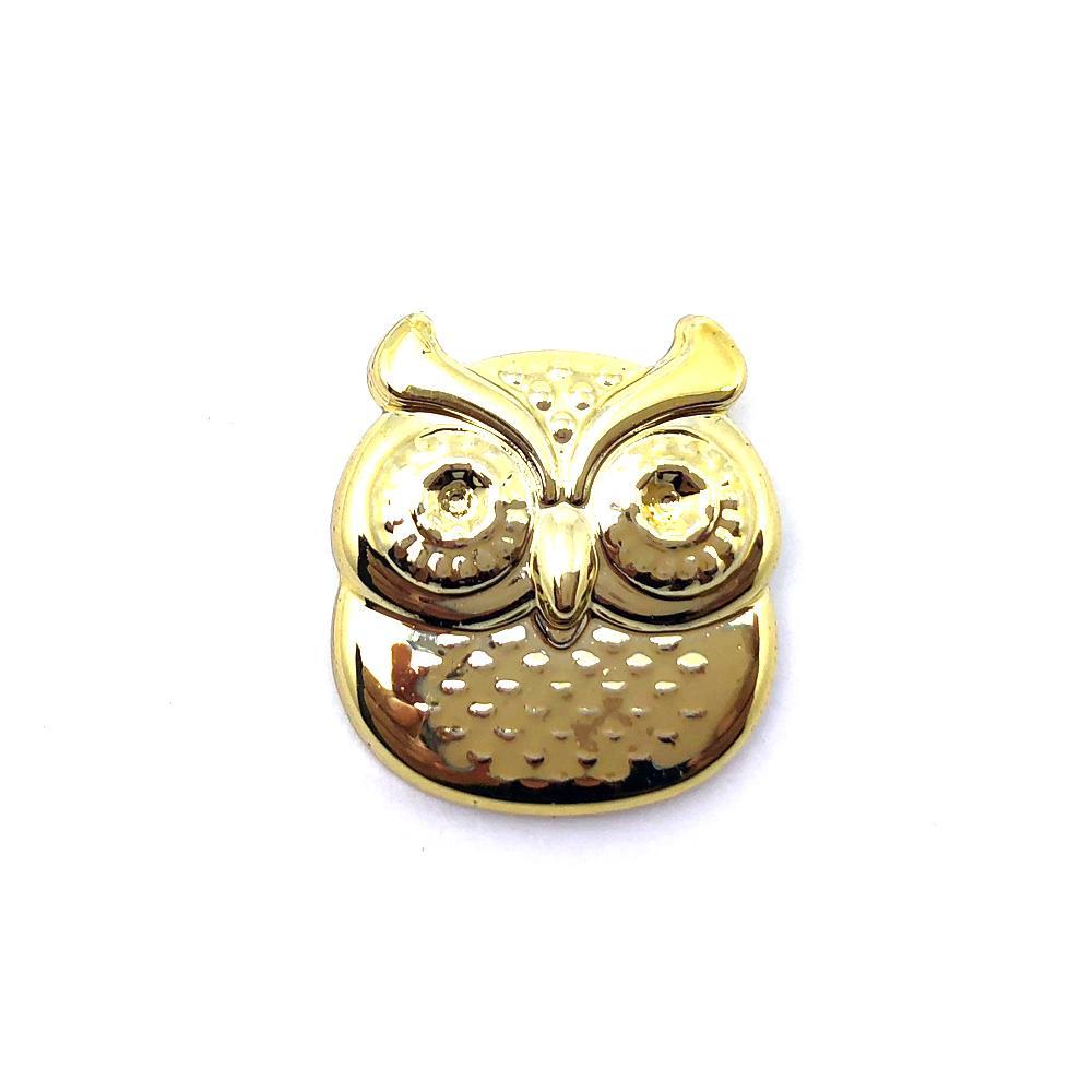 Aplique Botão Coruja Dourada 2x2cm C/ 10 unidades