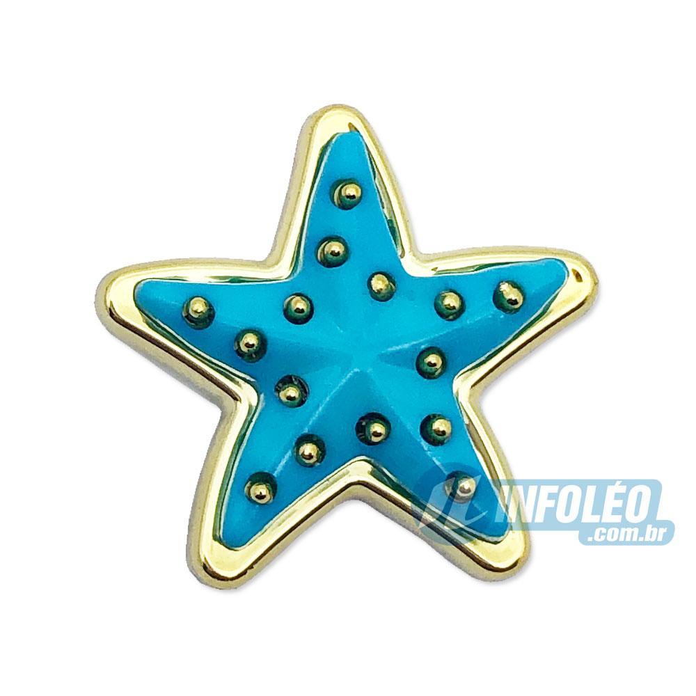 Aplique Botão Estrela Azul Turquesa C/ Dourado 2,5x2,5cm - 5 unidades