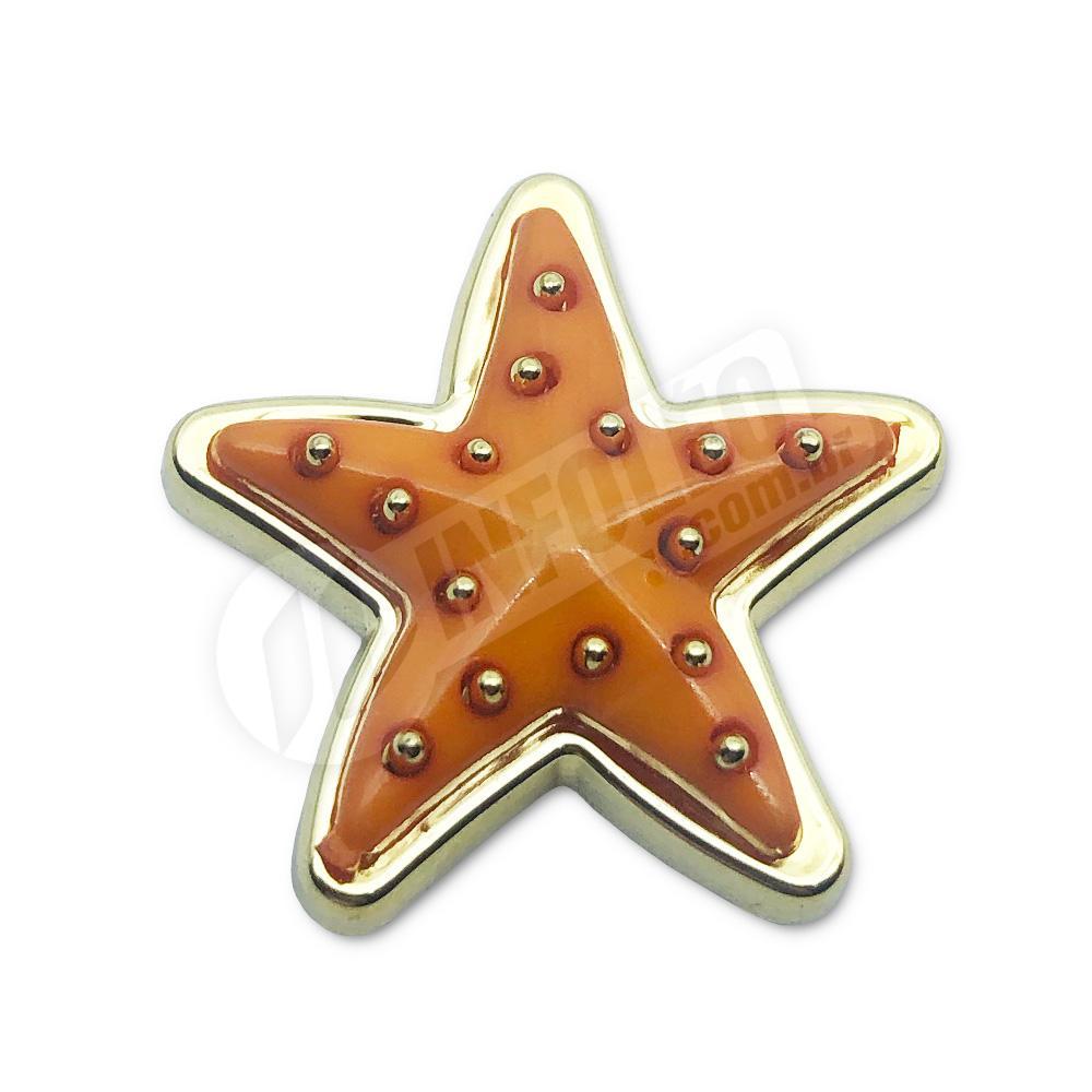Aplique Botão Estrela Laranja C/ Dourado 2,5x2,5cm - 5 unidades