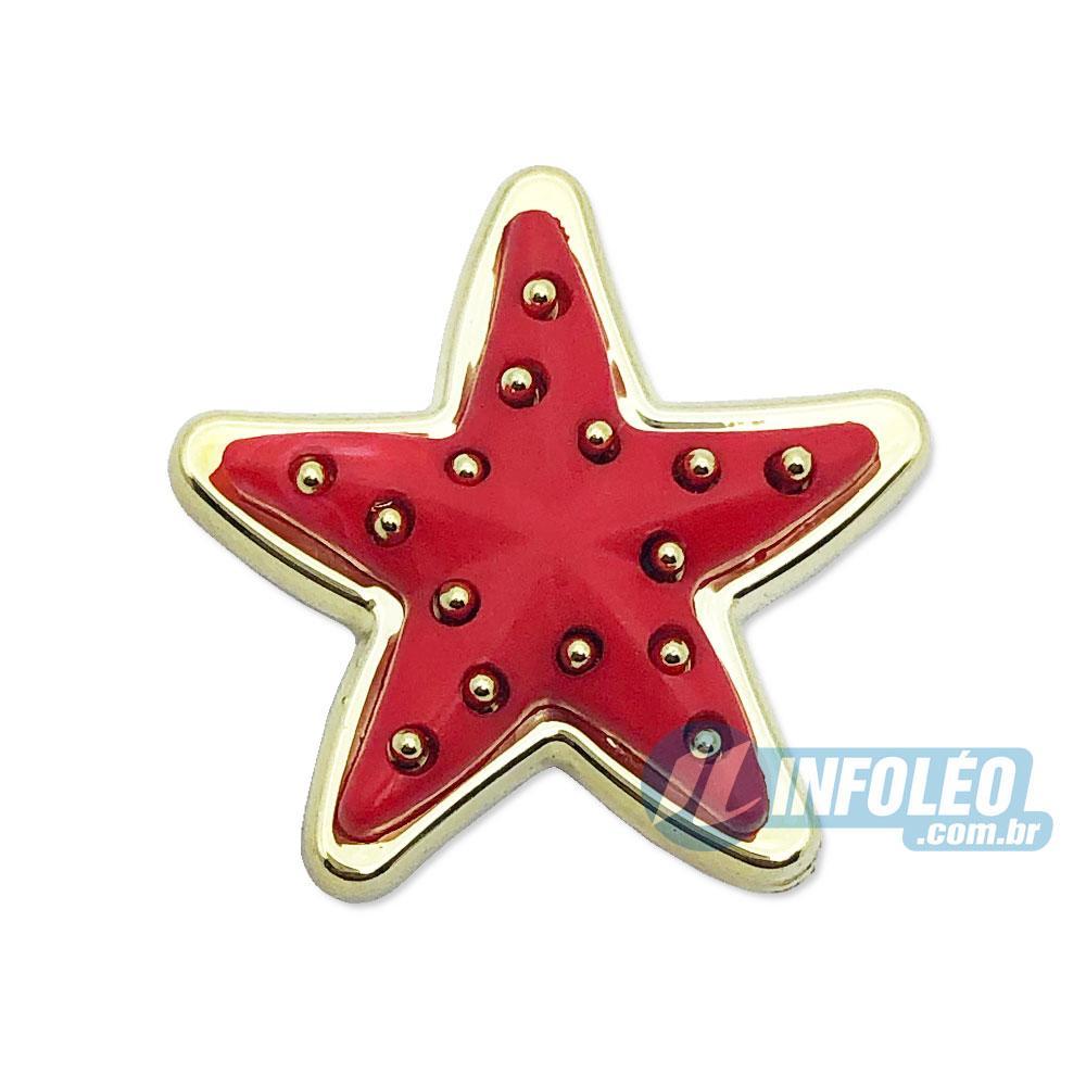 Aplique Botão Estrela Vermelha C/ Dourado 2,5x2,5cm - 5 unidades
