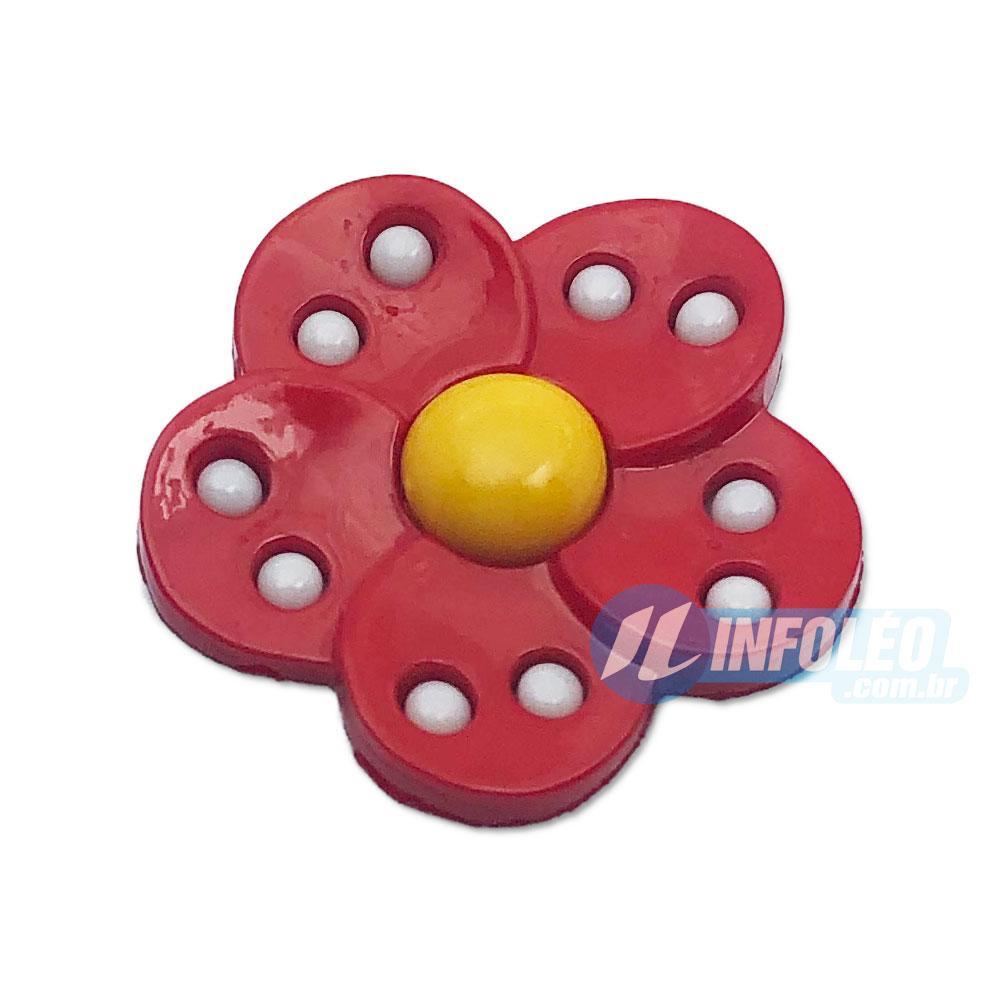 Aplique Botão Flor Amarelo e Vermelho - 5 unidades
