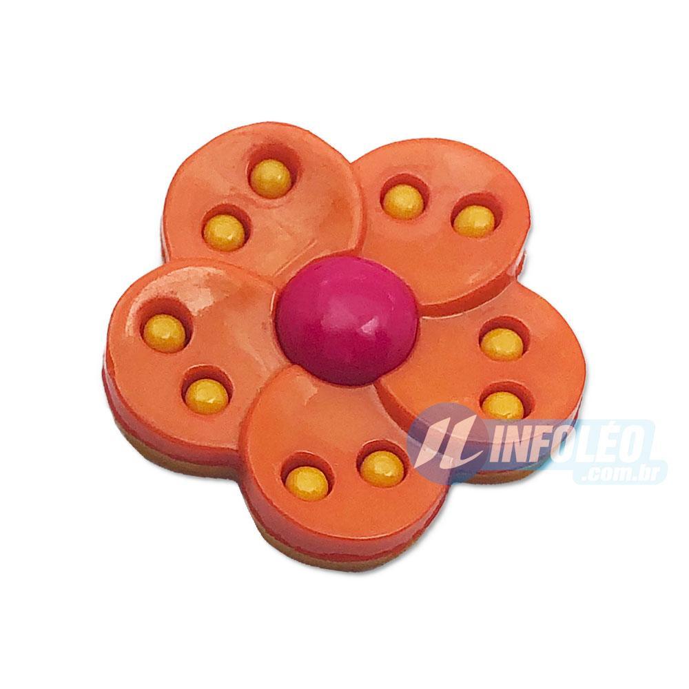 Aplique Botão Flor Rosa Pink e Laranja - 5 unidades