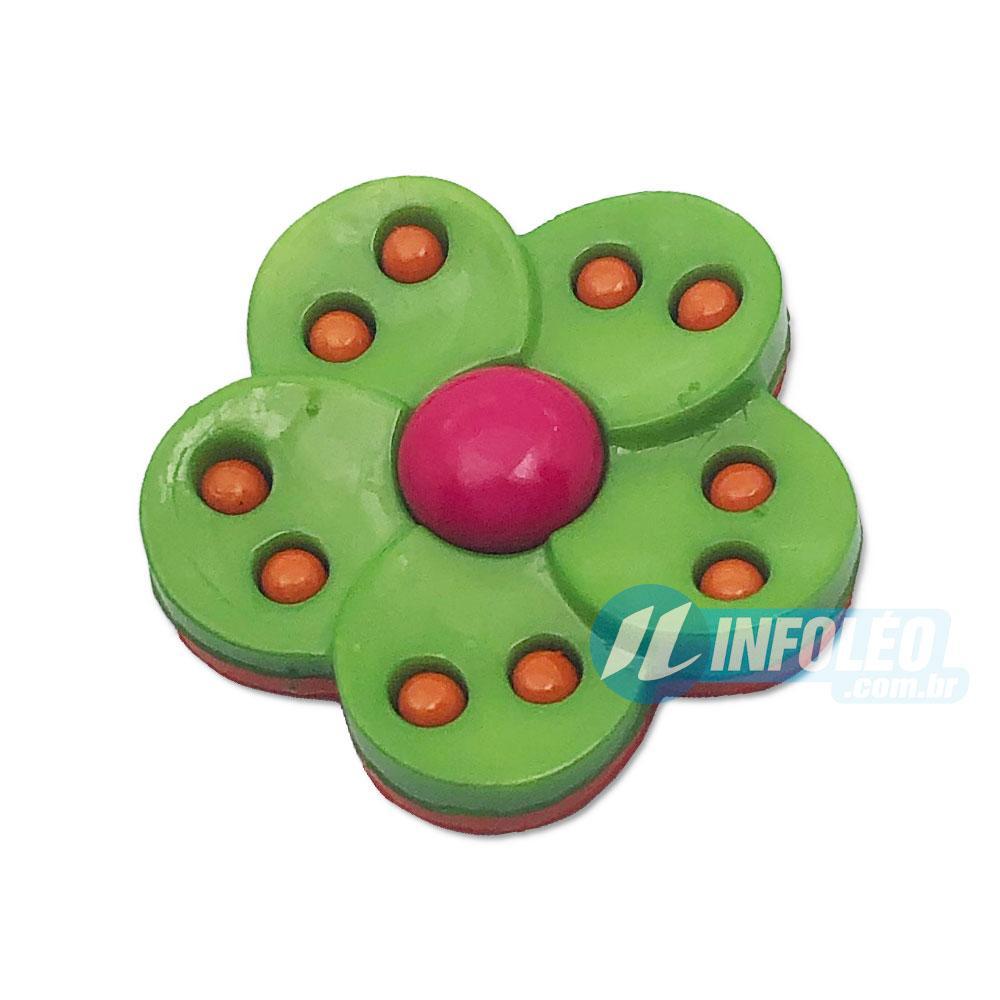 Aplique Botão Flor Rosa Pink e Verde - 5 unidades
