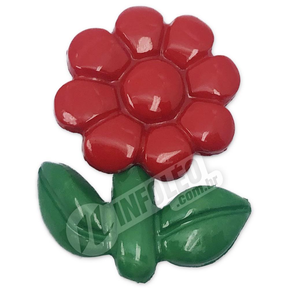 Aplique Botão Flor Vermelho e Verde 2x3cm - 5 unidades