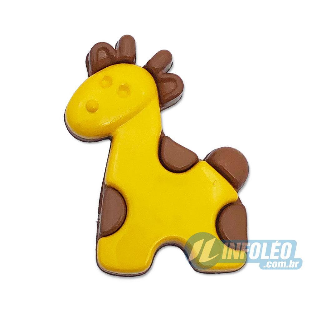 Aplique Botão Girafa 2,5x2,5cm - 5 unidades