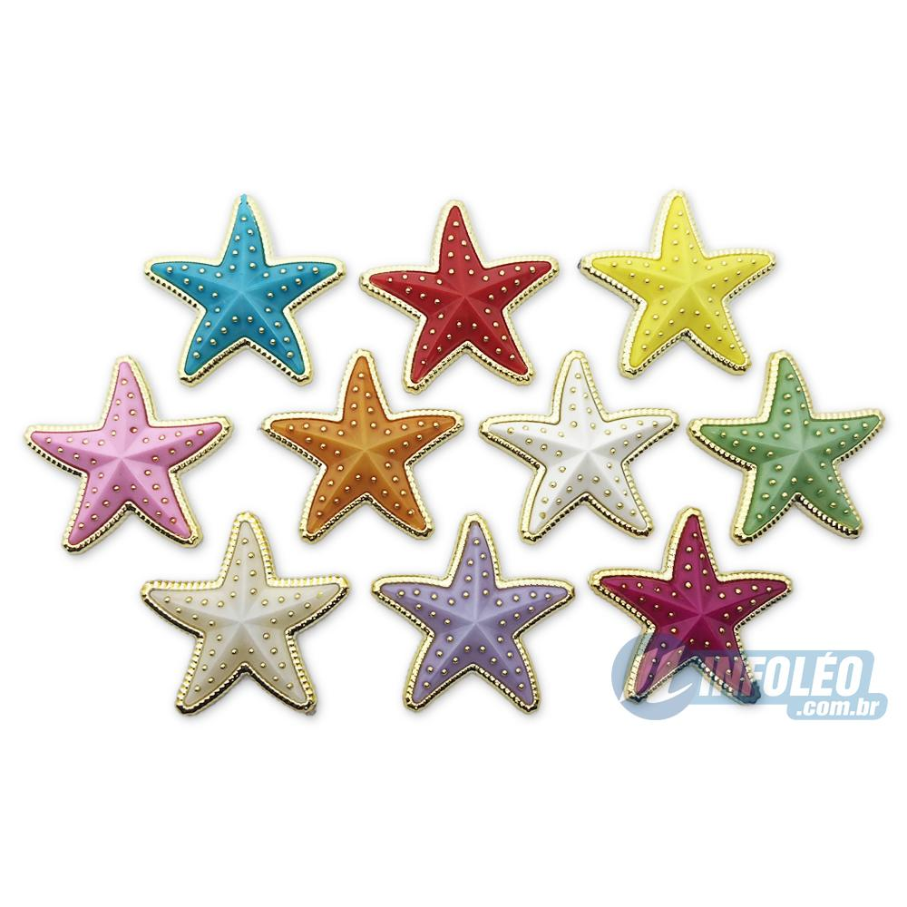 Aplique Botão Grande Estrela C/ Dourado 3,5x3,5cm - 5 unidades