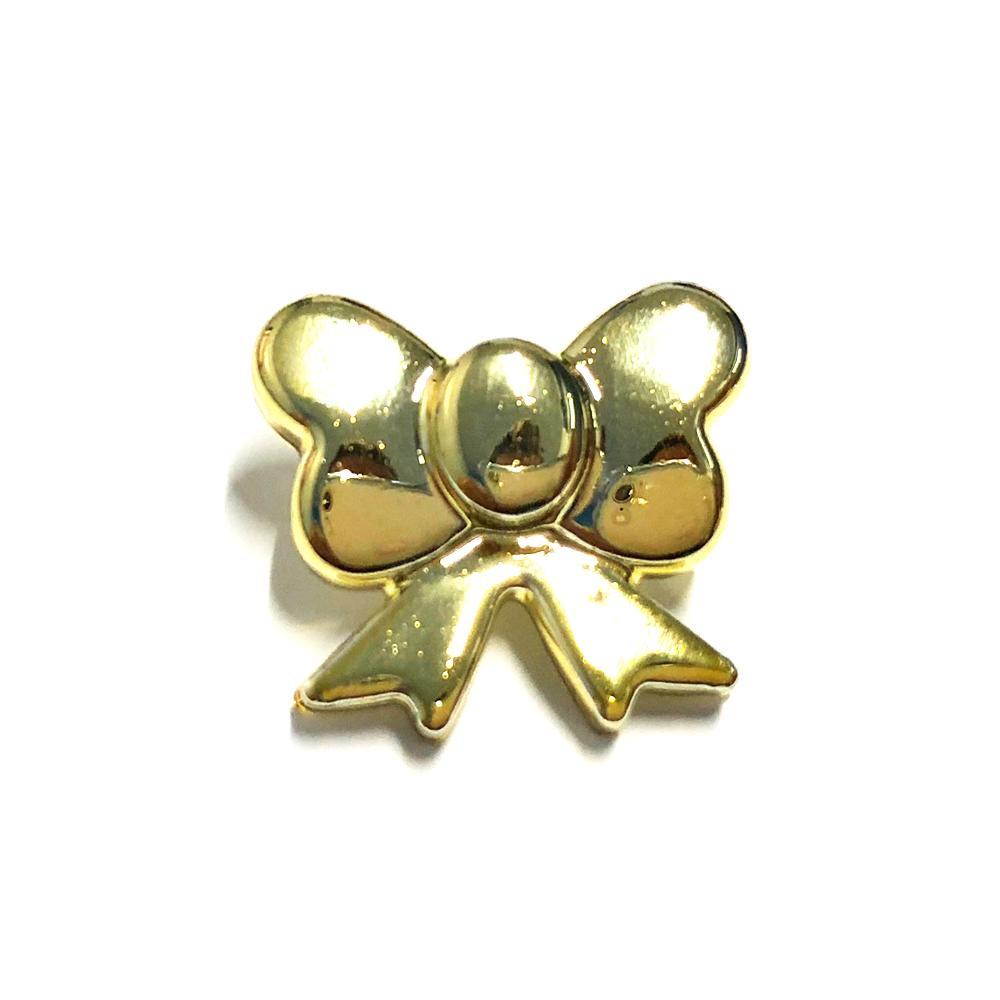Aplique Botão Laço Minnie Dourado 1,5x1,5cm C/ 10 unidades