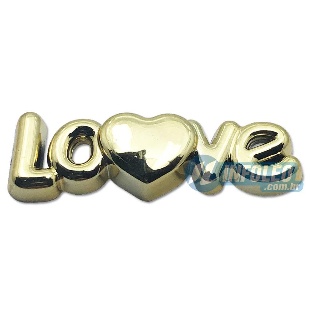 Aplique Botão Love Coração Dourado Plástico 3x1cm Namorados - 5 unidades