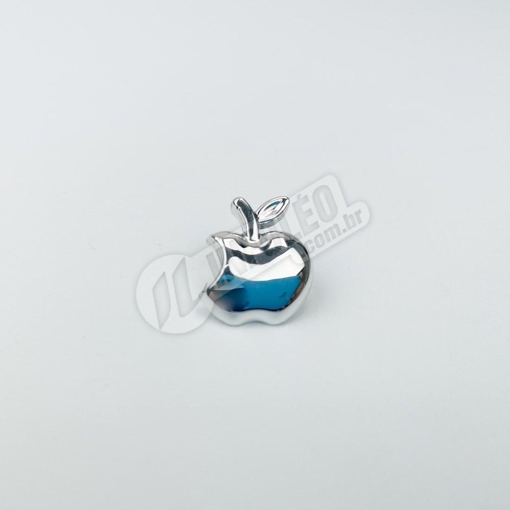 Aplique Botão Maça Prata Média Plástico 1,5x1,5cm - 10 unidades