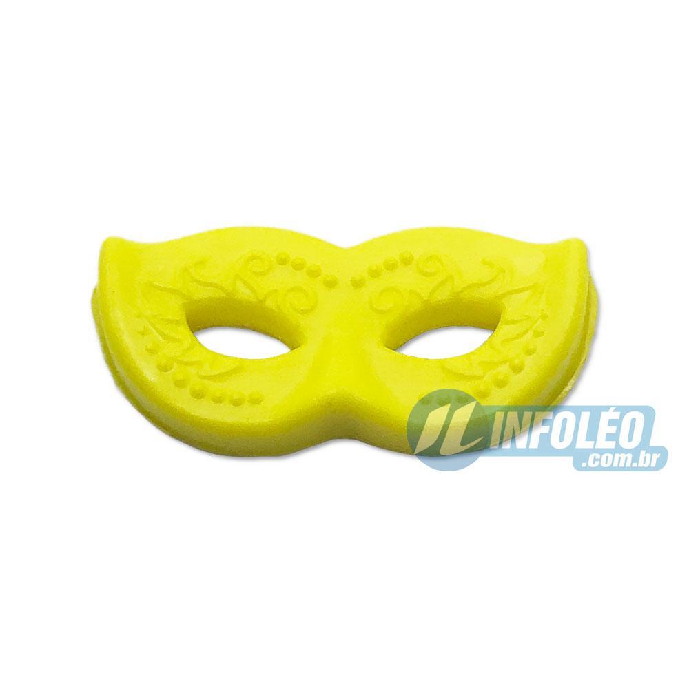 Aplique Botão Máscara Carnaval Amarelo 2x1cm - 5 unidades