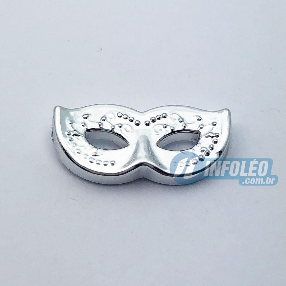 Aplique Botão Máscara Carnaval Prata Plástico 2x1cm - 5 unidades