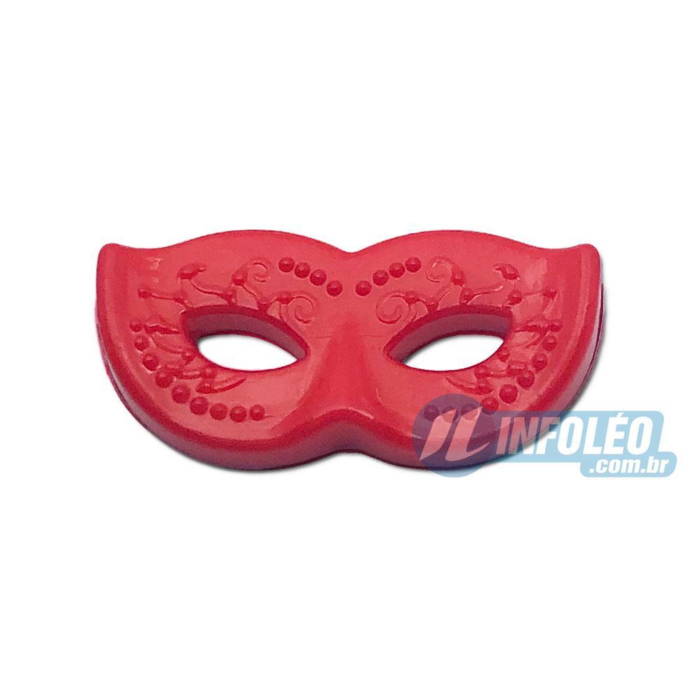 Aplique Botão Máscara Carnaval Vermelho 2x1cm - 5 unidades