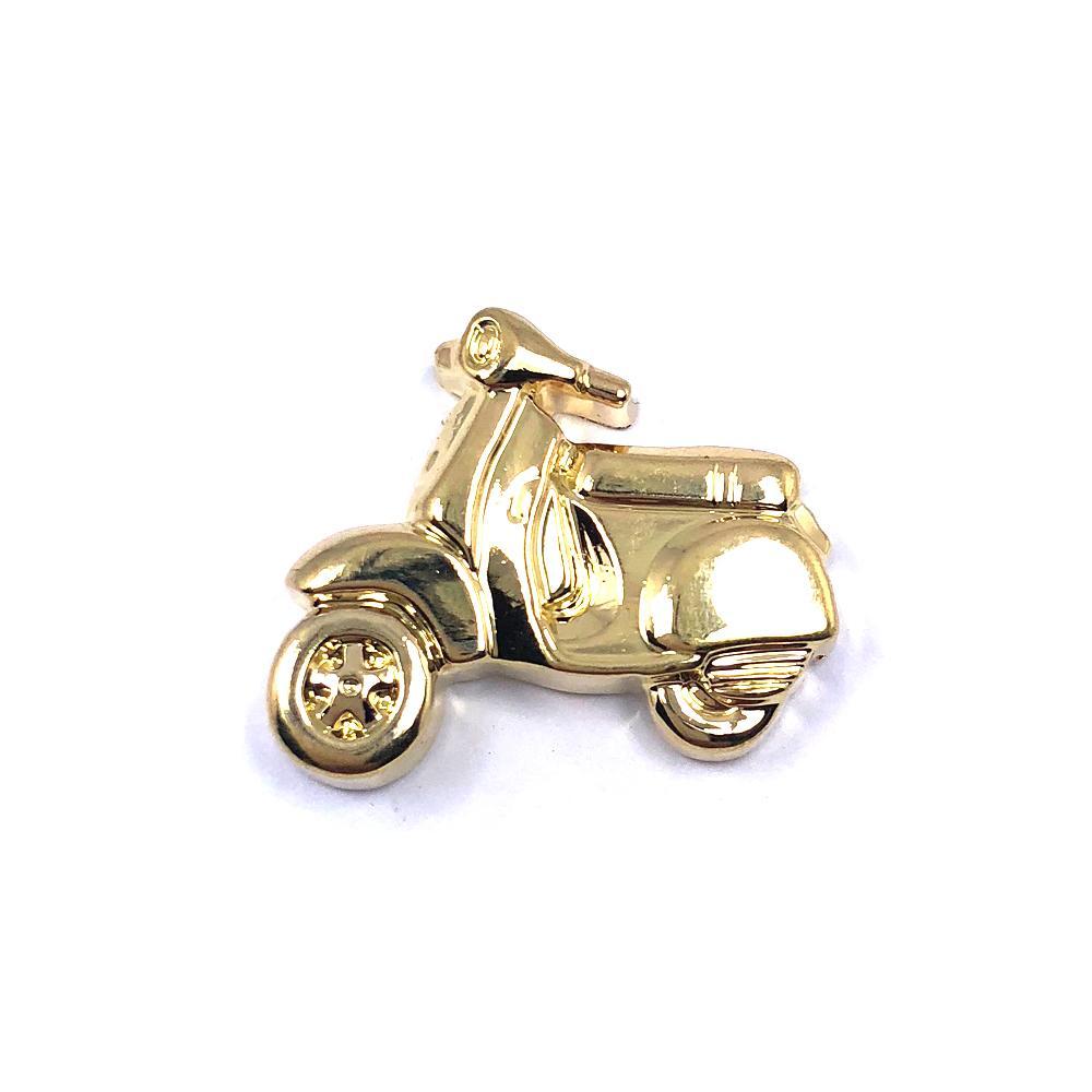 Aplique Botão Moto Dourada 2x1,5cm C/ 10 unidades