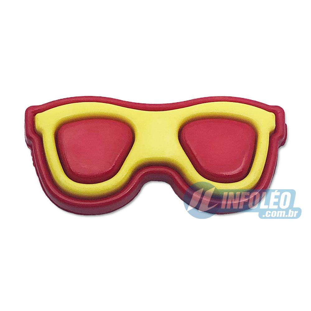 Aplique Botão Óculos Amarelo e Vermelho C/ 10 unidades