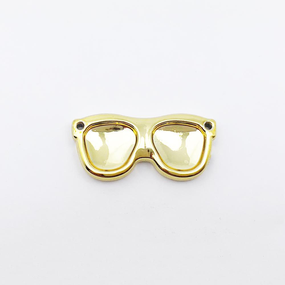 Aplique Botão Óculos Dourado 3x1,3cm C/ 10 unidades
