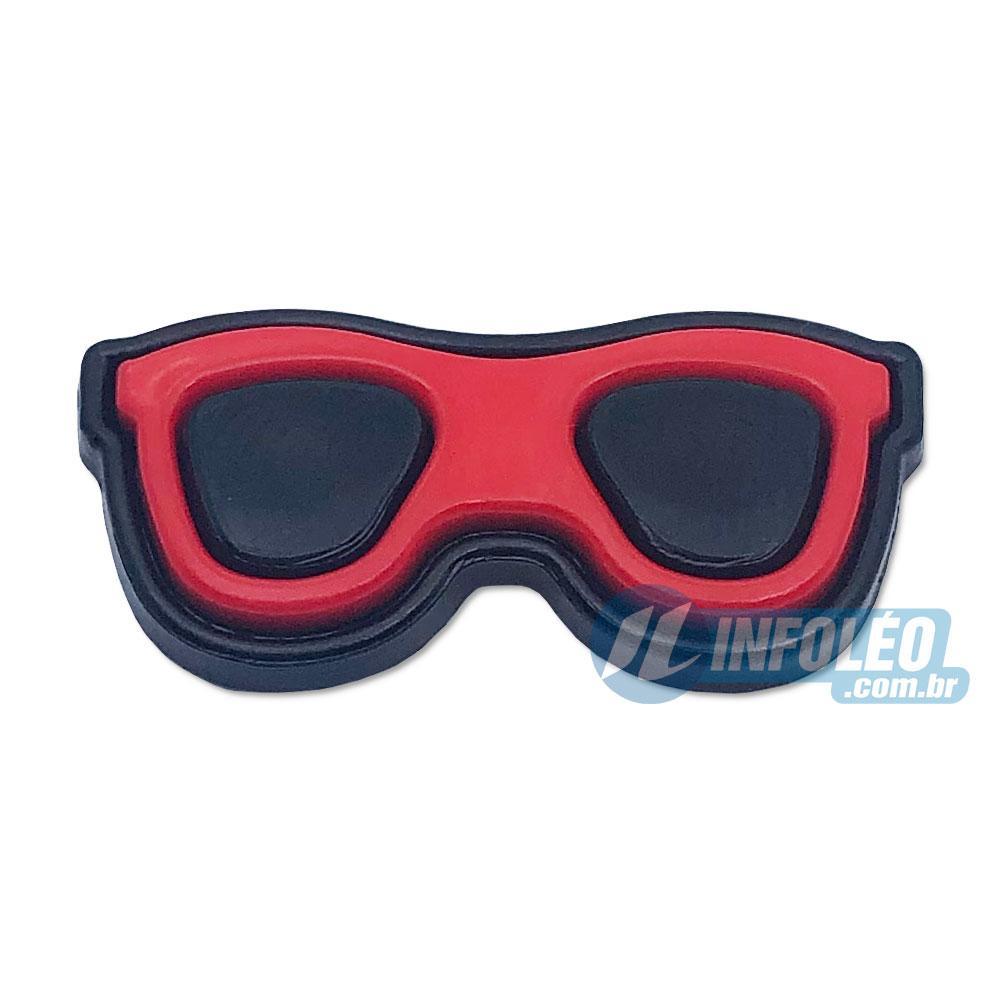Aplique Botão Óculos Vermelho e Preto C/ 10 unidades