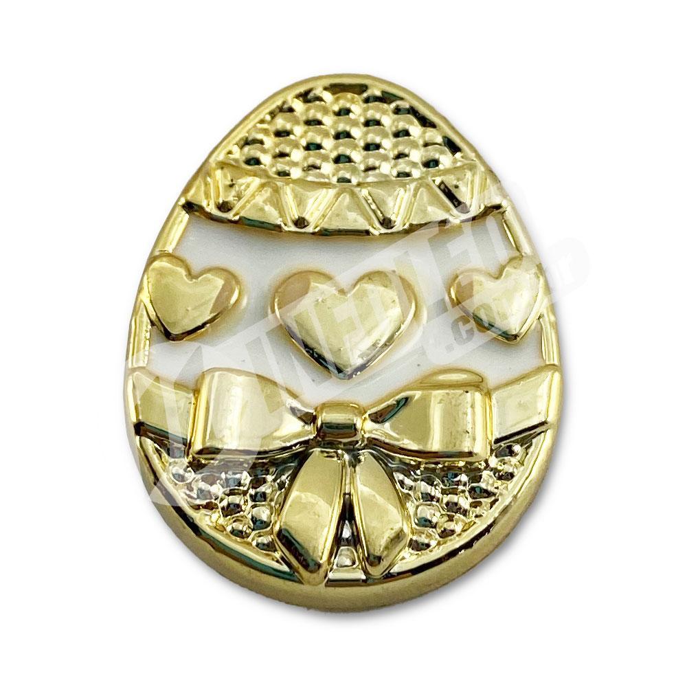Aplique Botão Ovo de Páscoa Dourado e Branco 2x2,5cm - 2 unidades