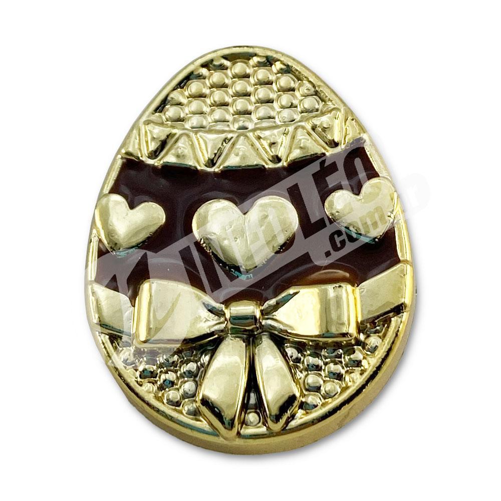 Aplique Botão Ovo de Páscoa Dourado e Marrom 2x2,5cm - 2 unidades