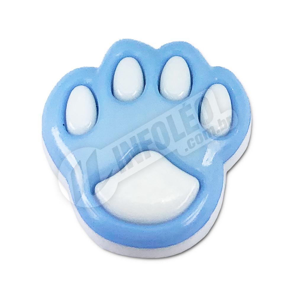 Aplique Botão Pata Cachorro Azul e Branco 1,5x2cm - 5 unidades