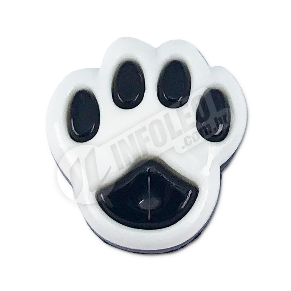 Aplique Botão Pata Cachorro Branco e Preto 1,5x2cm - 5 unidades