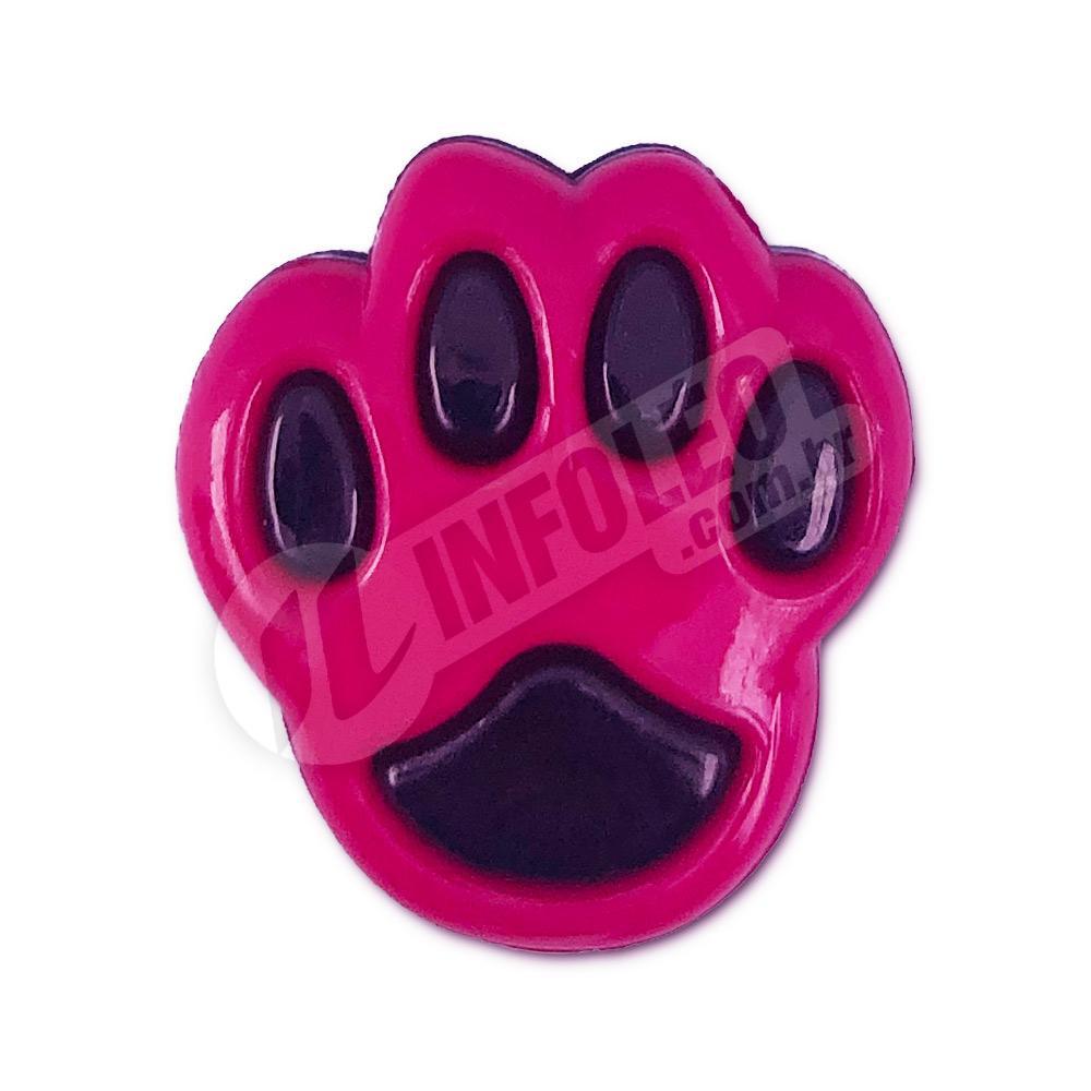 Aplique Botão Pata Cachorro Rosa Pink e Preto 1,5x2cm - 5 unidades