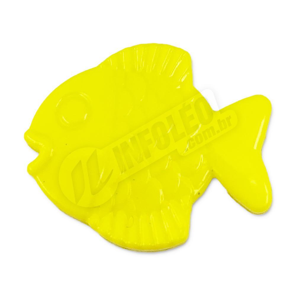 Aplique Botão Peixe Amarelo 2,5x2cm - 5 unidades