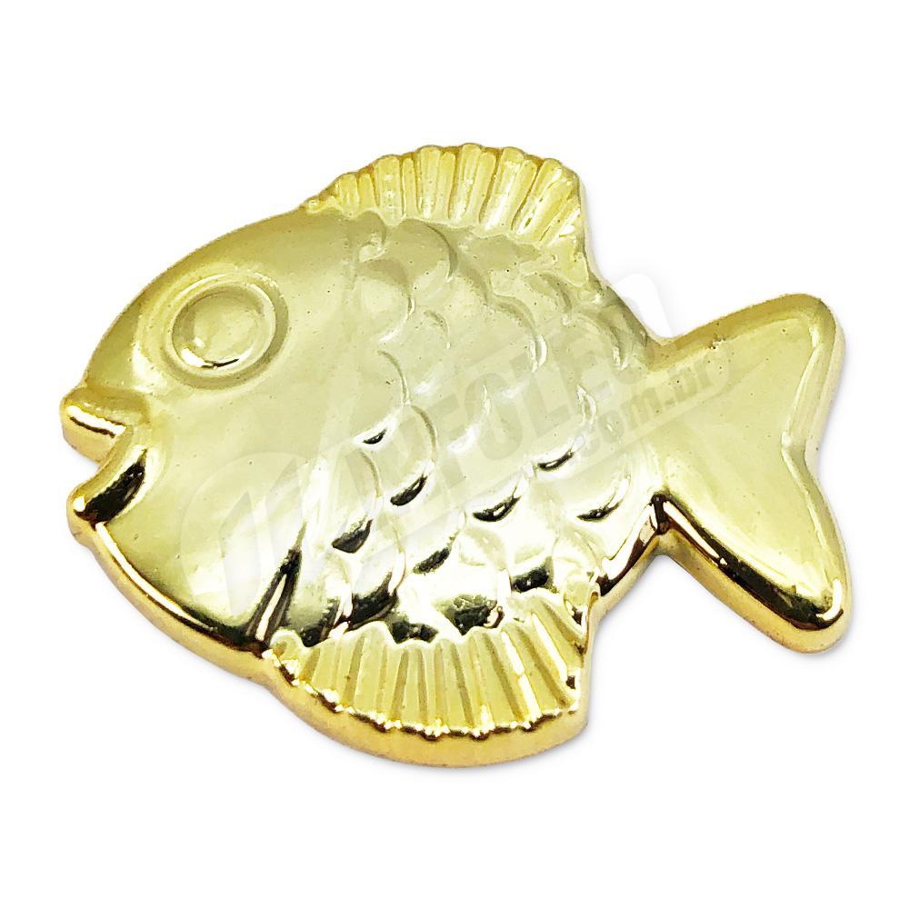 Aplique Botão Peixe Dourado 2,5x2cm - 5 unidades