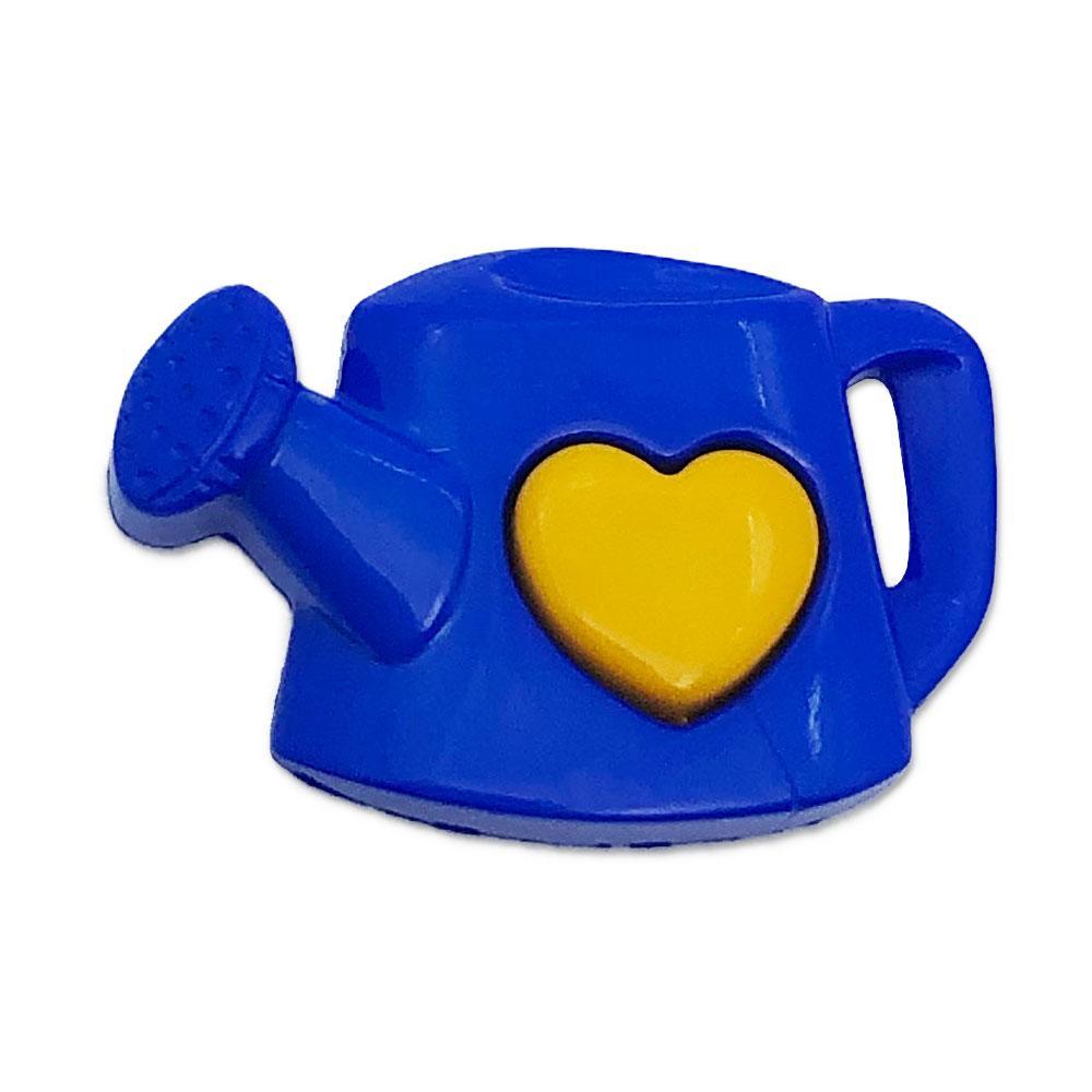 Aplique Botão Regador C/ Coração Azul e Amarelo - 10 unidades