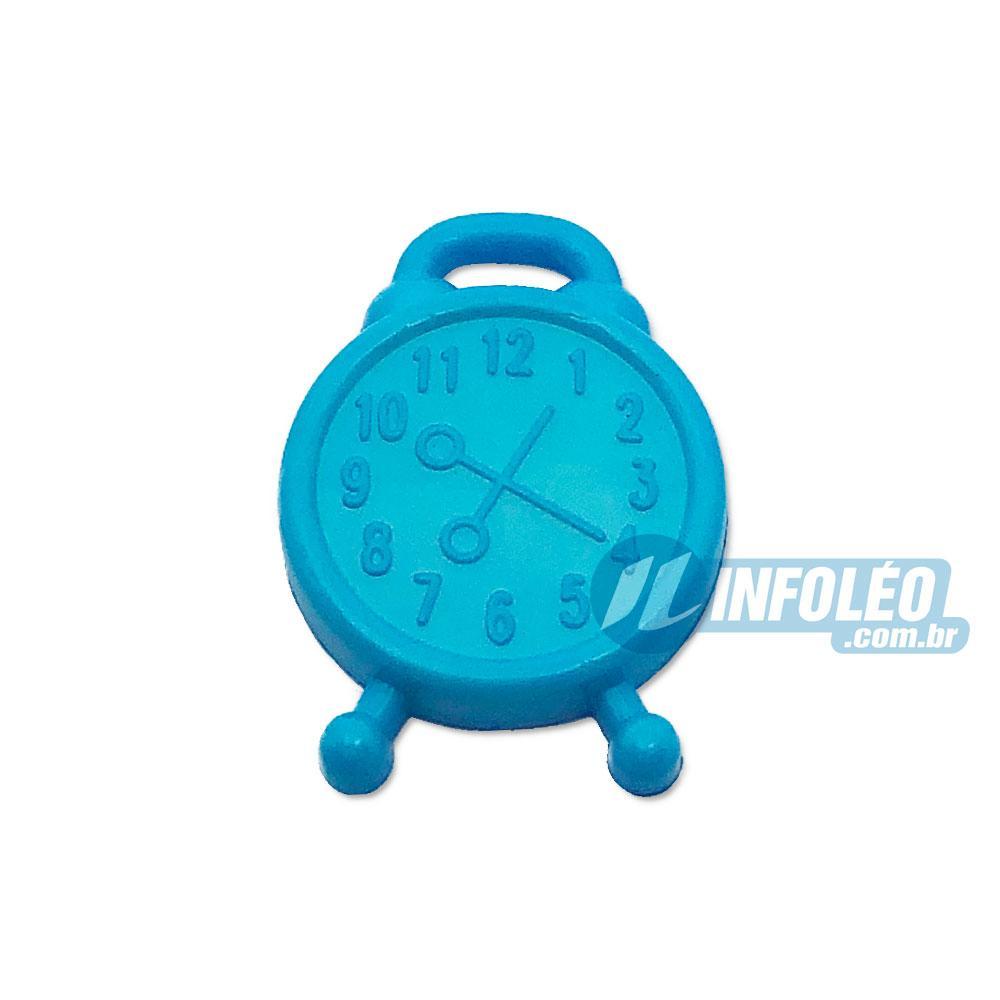 Aplique Botão Relógio de Mesa Azul 1,5x2cm - 5 unidades
