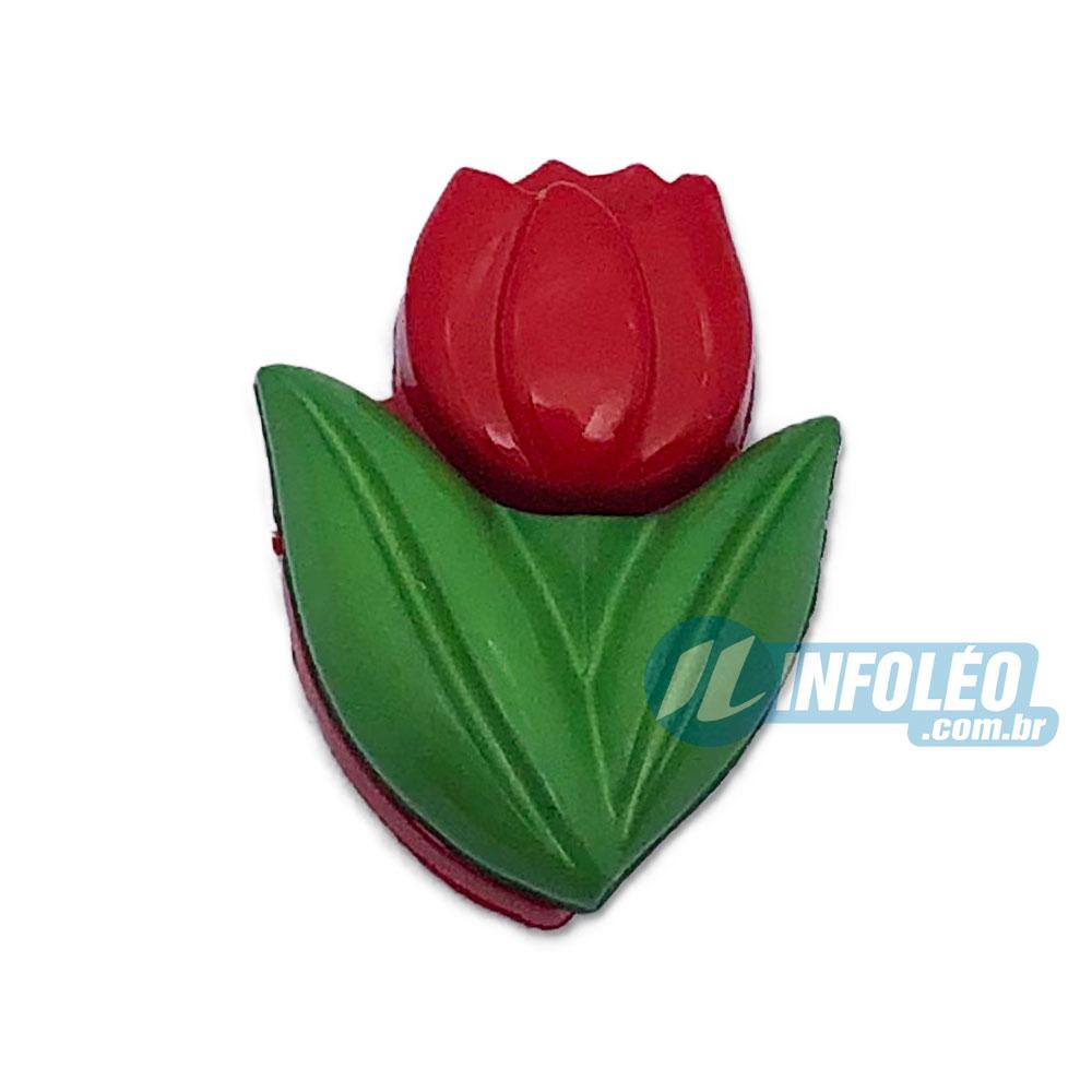 Aplique Botão Tulipa Vermelho e Verde 1,3x1,8cm - 5 unidades