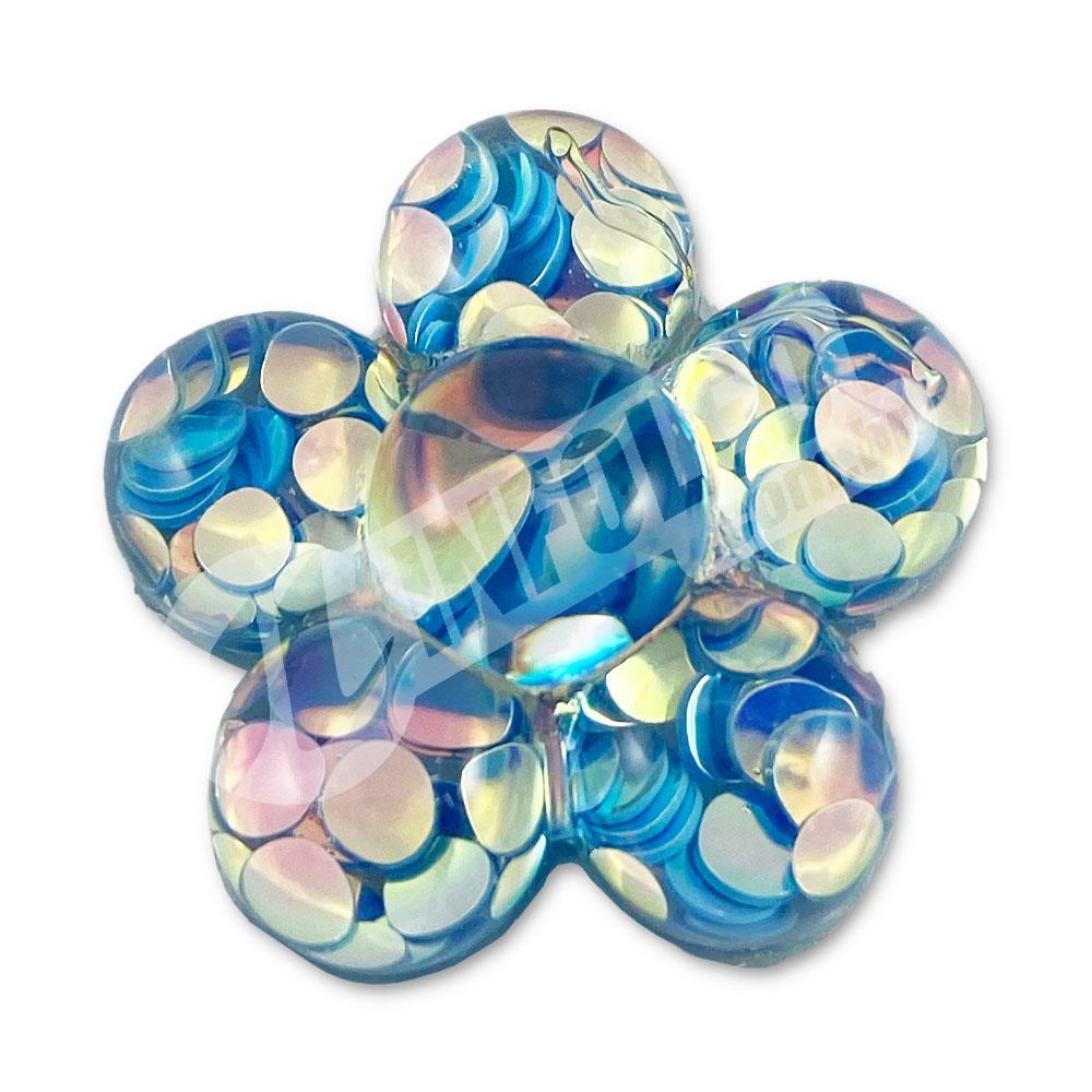 Aplique em Resina Flor Azul 2,5x2,5cm - 2 unidades