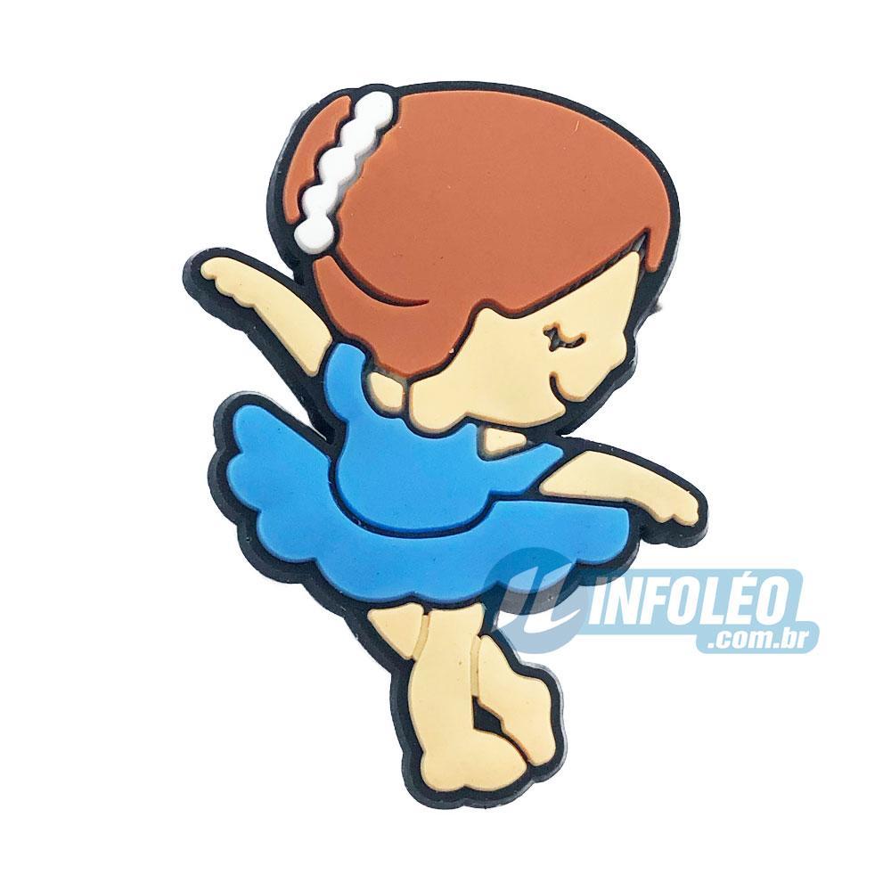 Aplique Emborrachado Bailarina Vestido Azul 2,5x3,5cm Balé - 5 unidades